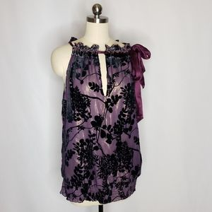 HALE BOB Purple Gold Silk Tie Neck Blouse NEW M